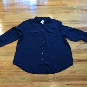 NWT Navy blue silk shirt Ann Taylor XL